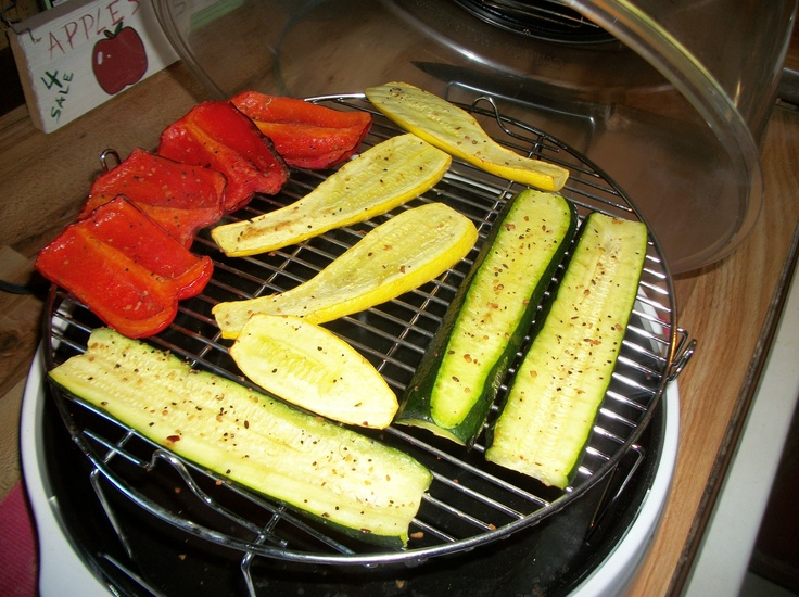 Roasted veggies with olive oil, garlic and steak seasoning all made in the NuWave Oven Pro in only minutes.