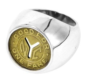NYC Subway Token (dome) ring in sterling silver and recycled vintage subway token