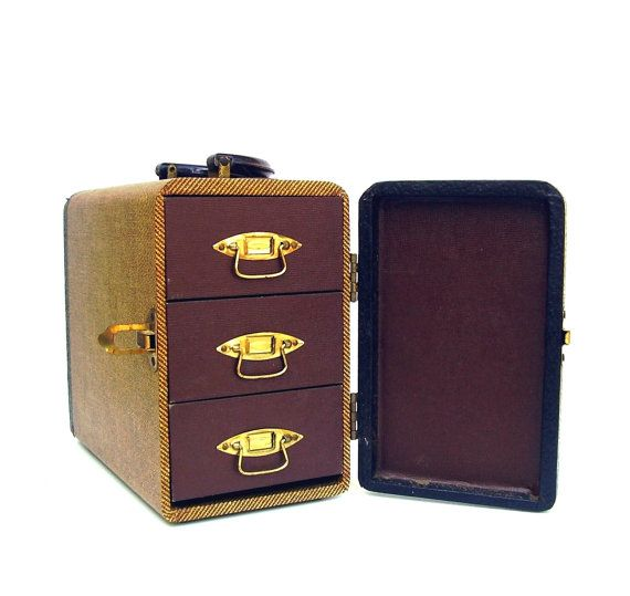 Vintage luggage baja 1940s case gold brown by - Fax caser bajas ...