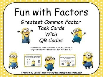 Make math centers easier with these easy-to-use, self-checking task cards. These 24 task cards reinforce the concept of identifying the greatest common factor for 3 numbers. The QR codes enable students to self-check their work. Makes a great addition to any classroom learning about greatest common factors, as well as a great activity for