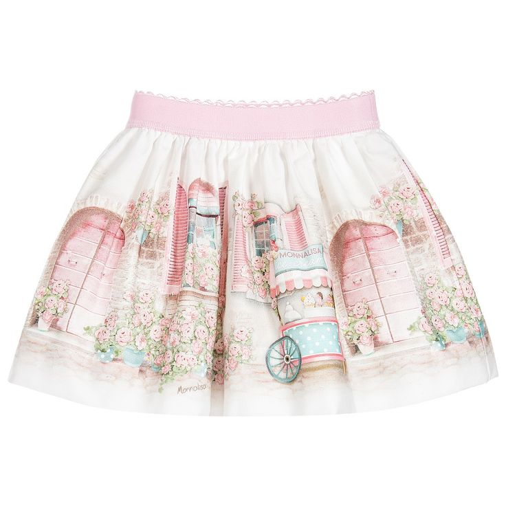Baby girls lovely ivory cotton skirt by Monnalisa Bebé, with an adorable print of a turquoise ice cream stall outside a house with pink shutters and roses. Gathered and full, it has a comfortable, elasticated pink waistband with an embroidered scalloped trim and a tulle-frilled cotton lining for extra volume.