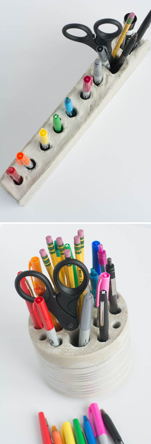 Diy cement desk organizer and pencil holder design mom Diy pencil holder for desk