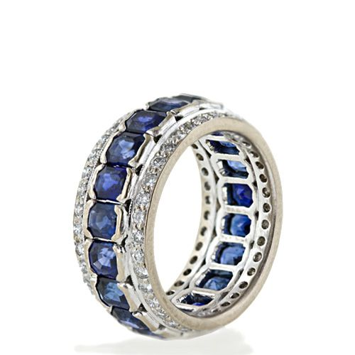 This is one of the prettiest eternity band I've come across. The intense blue of the sapphires is amazing.