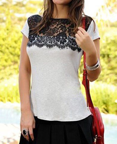 Stylish Round Collar Short Sleeve Spliced Women's T-Shirt