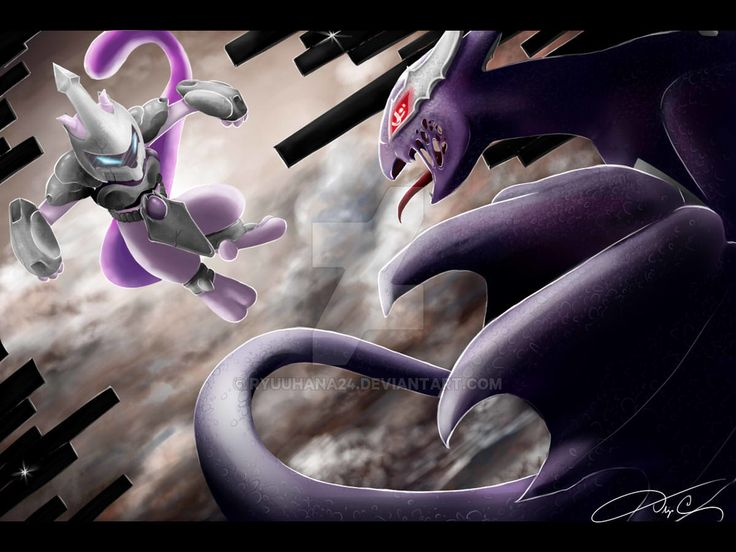 Armored Mewtwo Vs. Shadow Lugia by RyuuHana24