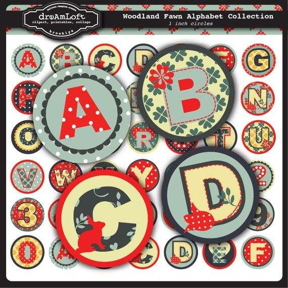 Woodland Fawn Alphabet Circles #woodland #party #clipart #alphabet