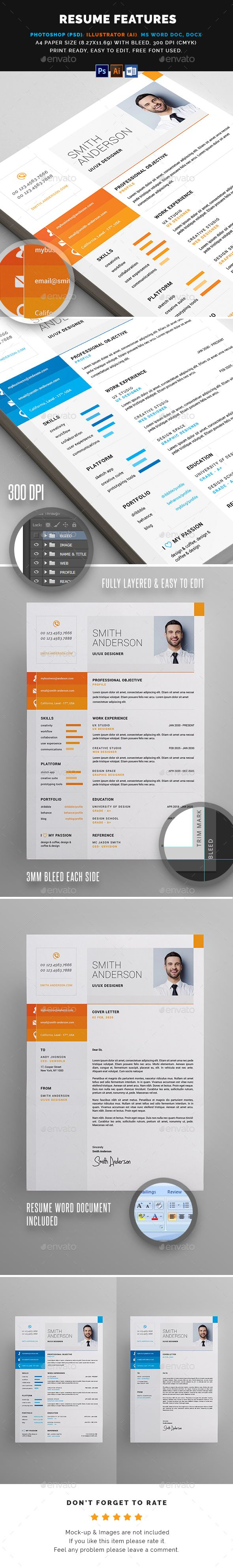Resume FEATURES:      Easy customizable and editable     300 DPI CMYK Print Ready!     A4 size 216×303mm with Bleed     100% Layered and Full Editable     04 PSD Files included     04 Ai Files included     04 Word Files (DOC & DOCX) included     Help Guide Included     Print Ready Format     Images are not included in the download.  FONT:      Raleway     Roboto