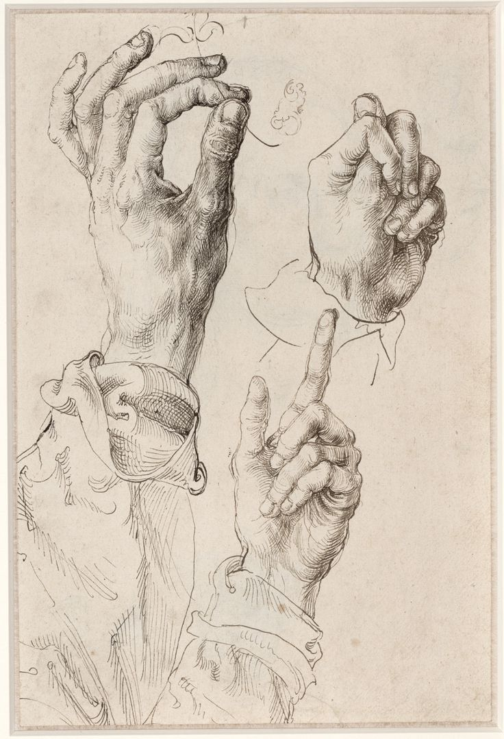 "Albrecht Dürer, ""Studies of Dürer's Left Hand"", pen and brown and black-brown ink, 27 x 18 cm, 1493/1494"