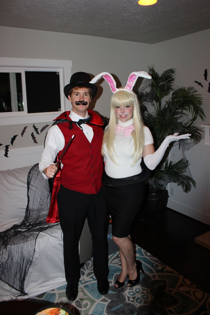 DIY couples costume for Halloween. Magician and a rabbit ...