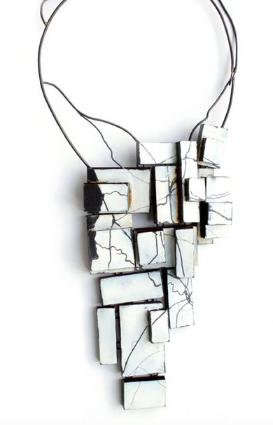 "Kat Cole  - ""winter"" - the land below - 2013 - steel, enamel -  Selected artist Schmuck 2014 http://kat-cole.com/ http://www.facerejewelryart.com/artist.php?id=146"