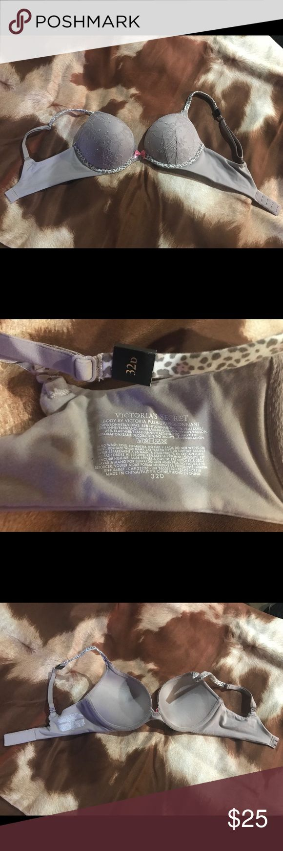 Victoria's Secret Push up Bra Brand new with tag Victoria's Secret Bra. Push up padding. Lace with animal print touches. Small pink bow in front. Victoria's Secret Intimates & Sleepwear Bras