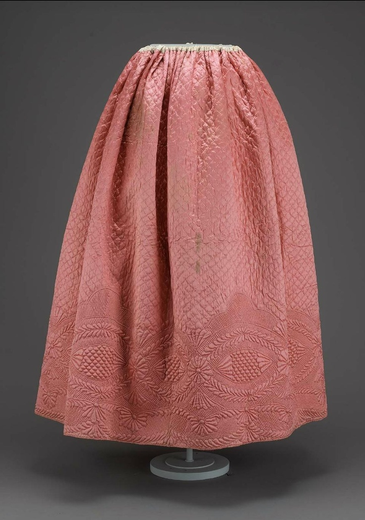 Petticoat  American, Colonial, mid-18th century  Massachusetts, United States  DIMENSIONS  267 x 97 cm (105 1/8 x 38 3/16 in.)  MEDIUM OR TECHNIQUE  Quilted silk satin with linen plain weave lining quilted with silk thread; cotton drawstring, cotton plain weave waist band, silk plain weave pocket (added later)  CLASSIFICATION  Costumes  ACCESSION NUMBER  59.454  MFA Boston