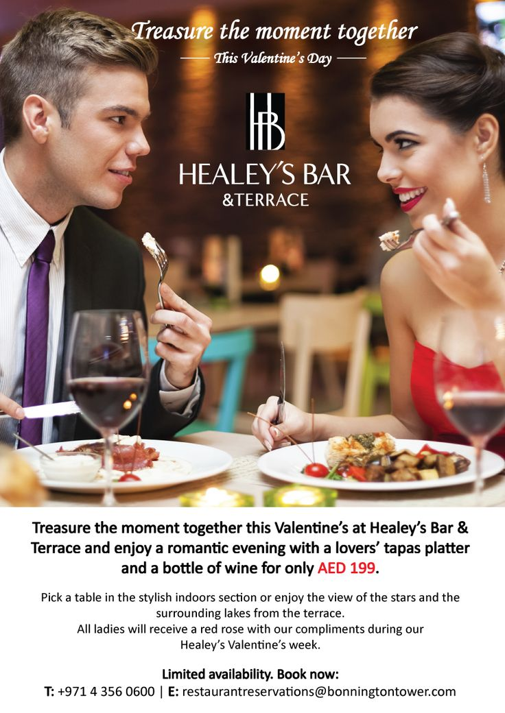 Treasure the moment together this Valentine's Day at Healey' s Bar & Terrace and enjoy a romantic evening with a lovers' tapas platter and a bottle of wine. Pick a table in the stylish indoors section or enjoy the view of the stars and the surrounding lakes from the terrace. For more info call 043560600, email restaurantreservations@bonningtontower.com, or click on the pin.