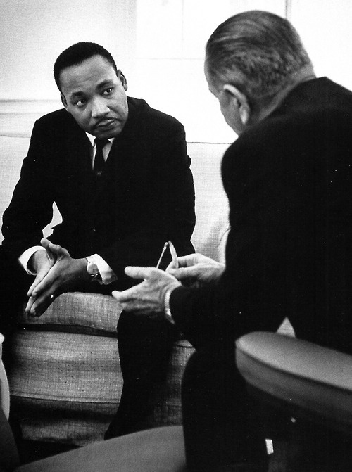 The Reverend Martin Luther King Jr. with President Lyndon Johnson at the White House, 1964.