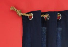 Rope curtain rod for pirate room