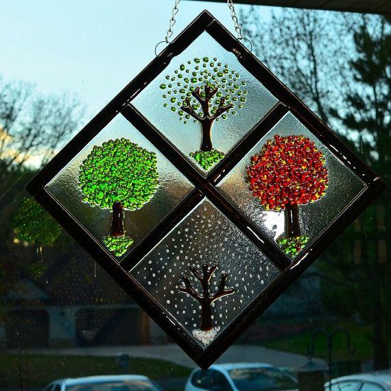 Four Season Diamond Fused Glass Art by JeanineHuot on Etsy, $135.00