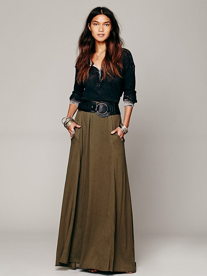 Free People We The Free Urban Cowgirl Henley top in black with FP Beach Mad Cool Skirt at Free People Clothing Boutique