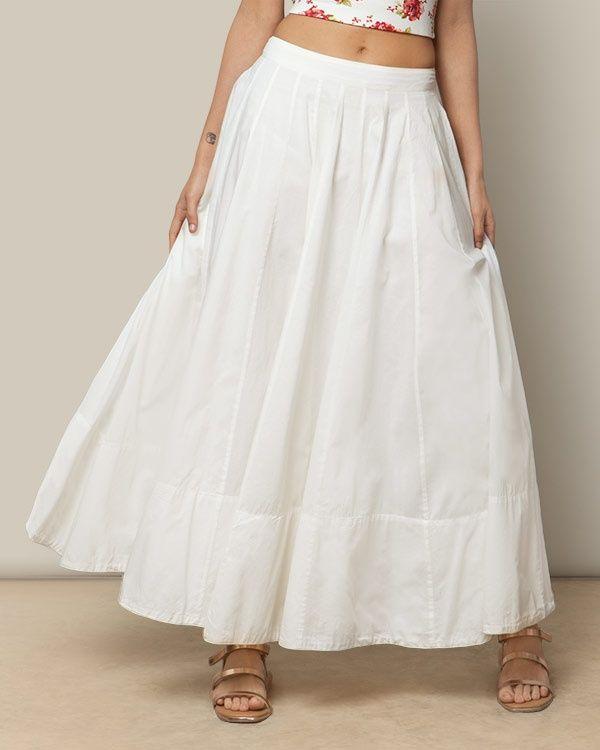 NICOBAR Panelled Skirt - Ivory