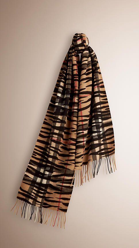 Camel/preto Cachecol de cashmere com padrão xadrez e estampa de zebra - Imagem 1