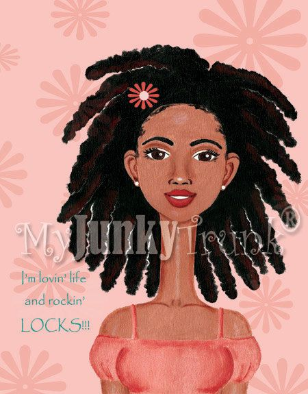 """Dreadlocks""  ""I'm lovin' life and rockin' LOCKS!!! This image is from the series entitled, ""In the Beginning...There Were Afros.™"" Please LIKE us on Facebook at MyJunkyTrunk Art & Inspiration. Thank you! Copyright 2012. MyJunkyTrunk®, LLC. All Rights Reserved. www.myjunkytrunk.etsy.com"