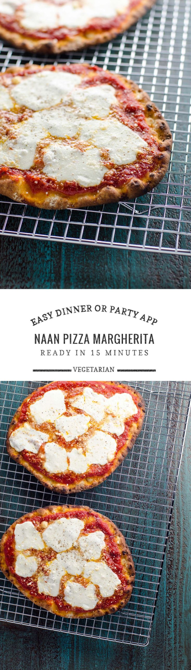 Naan pizza margherita is ready in 15 minutes (with only 5 minutes of prep). It's equally at home as a weeknight dinner or a game day/party appetizer.