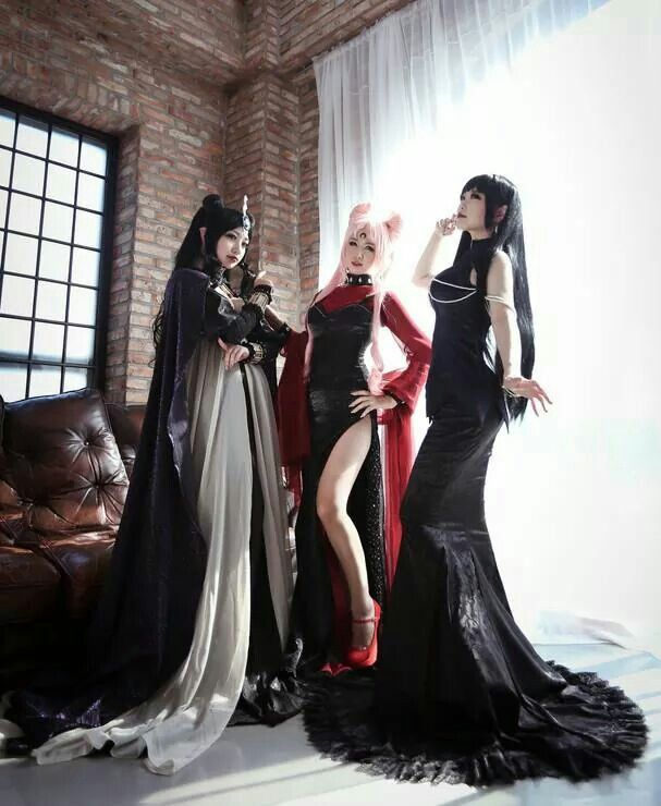Sailor Moon Group Cosplay. Wicked / From left to right: Queen Nehelenia, Black Lady, & Mistress 9…