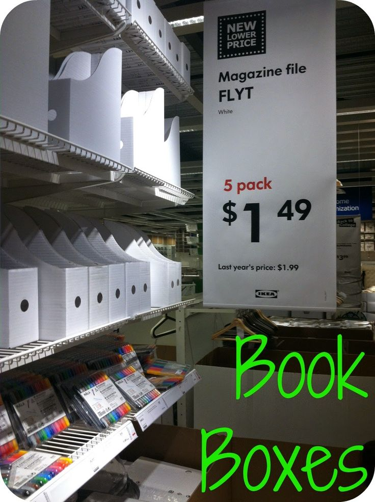 Ikea FLYT Magazine files (5 for $1.49)  use as student book boxes, library organization, etc.