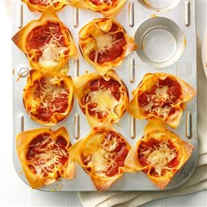 Muffin Tin Lasagnas Recipe -This is a super fun way to serve lasagna for make-ahead lunches, potlucks or other fun get-togethers. My daughter took some of these to work and by noon was emailing me for the recipe. —Sally Kilkenny, Granger, Iowa