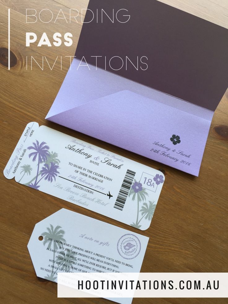 Boarding Pass Invitation Save the Date