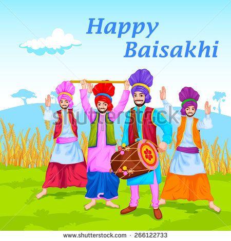 easy to edit vector illustration of Happy Baisakhi celebration