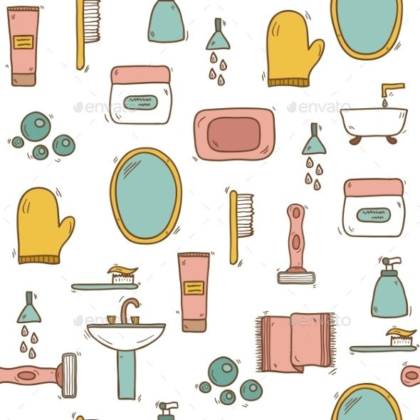 Seamless Hand Drawn Bathroom Background (Vector EPS, CS