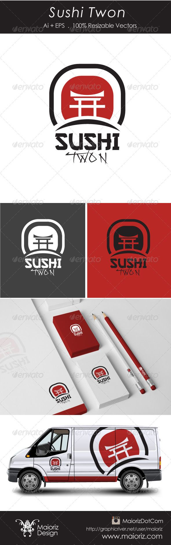 Sushi Twon Logotype  #GraphicRiver                                File Description  This is custom logo template. Illustrator (AI), Vector (EPS) logo files included in this download. You can customize to your own branding. All colors and text can be modified.