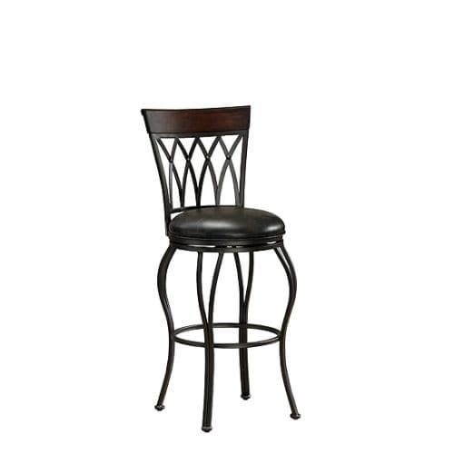 American Heritage Billiards Palermo Extra Tall Stool Palermo 49.5 Tall Metal Frame Extra Tall Bar Stool, Pepper (Bonded Leather)