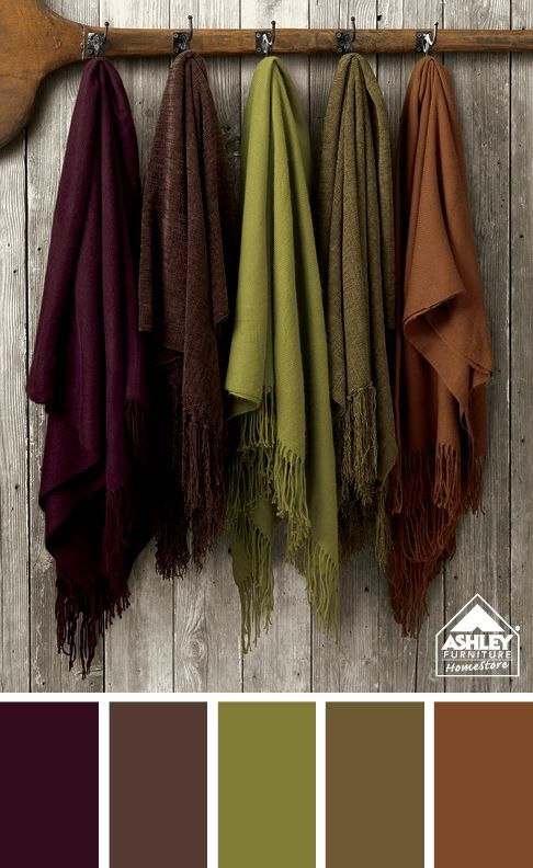 Colour palette: Dark burgundy/wine, grey brown, olive green, green/brown, dark rust