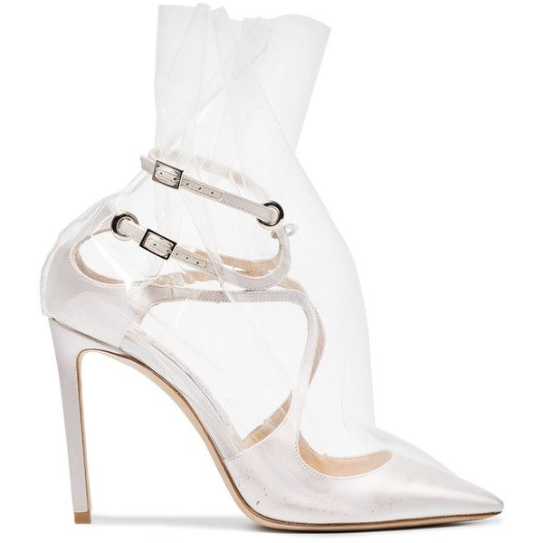Off-White C/O Jimmy Choo Claire 100 Satin Pumps ($1,195) ❤ liked on Polyvore featuring shoes, pumps, white, white pumps, vintage white shoes, champagne shoes, satin pumps and off white shoes