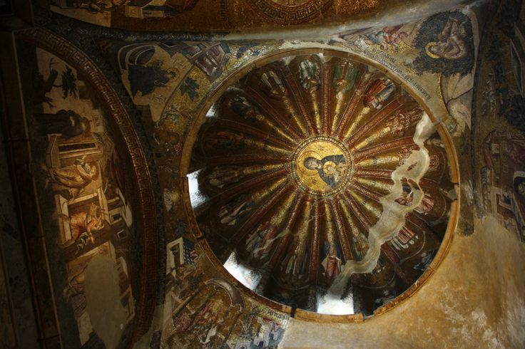 Mosaic of the Virgin Mother with child, north dome of the inner narthex