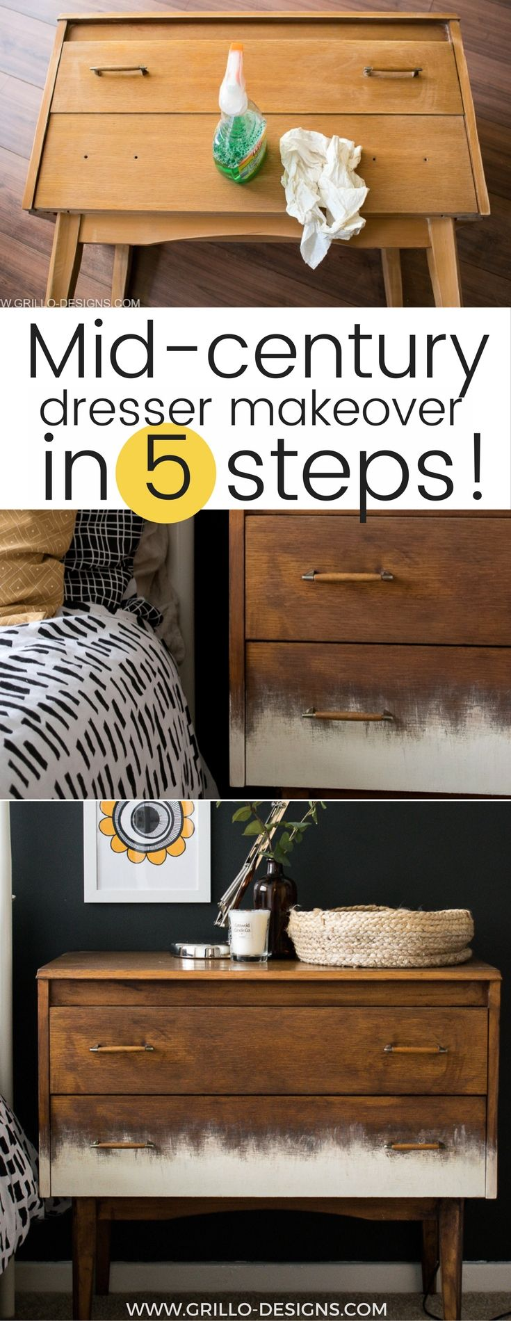a mid century dresser makeover in 5 easy steps