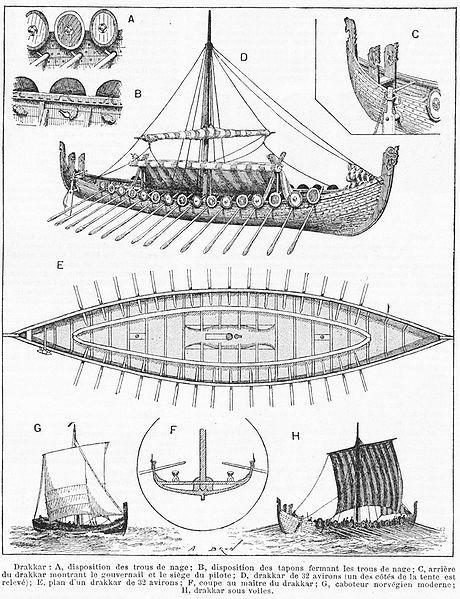 The Drakkar descrip. Date circa 1870. Source: Noveau Larousse. Ilustré (Larousse XIXs. 1866-1877) Author A. Brun. A detailed drawing of a Viking ship made in the 1870s.