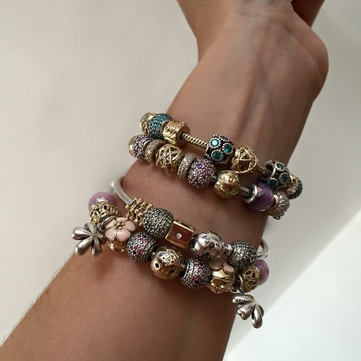 Gold Charm Bracelet Charms: PANDORA 4 Bracelet Stack With Gorgeous Gold And Silver