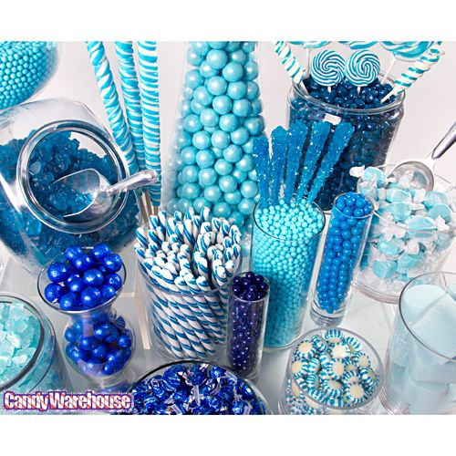 Our candy display's feeling a little blue today, but don't worry -- that's actually a good thing! This beautiful blue buffet draws its inspiration in equal parts from rain drops, cloudless skies, and calm seas. Best of all, it's made of sweets!