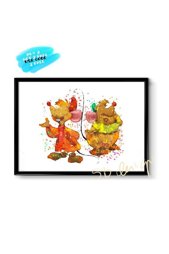 Cinderella Watercolor Poster Disney Poster Jaq and Gus Mice