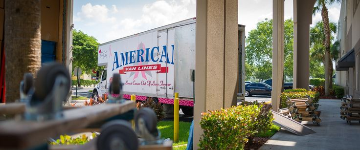 American Van Lines Truck Dressed in Glam-A-Thon Regalia in support of Kiss Breast Cancer Goodbye.