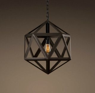 Steel Polyhedron Small Pendant - mediterranean - pendant lighting - by Restoration Hardware
