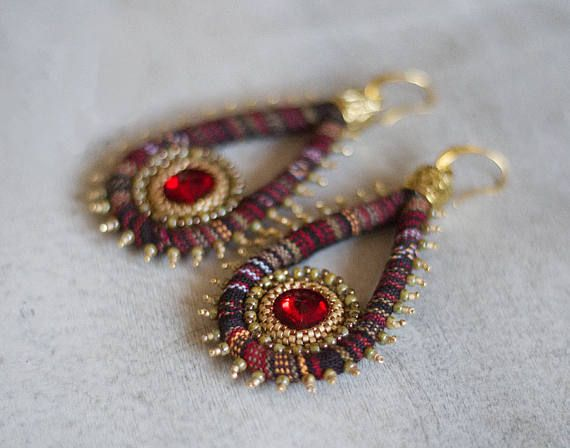Colorful Ethnic Hippie Earrings Swarovski Crystal Ankara
