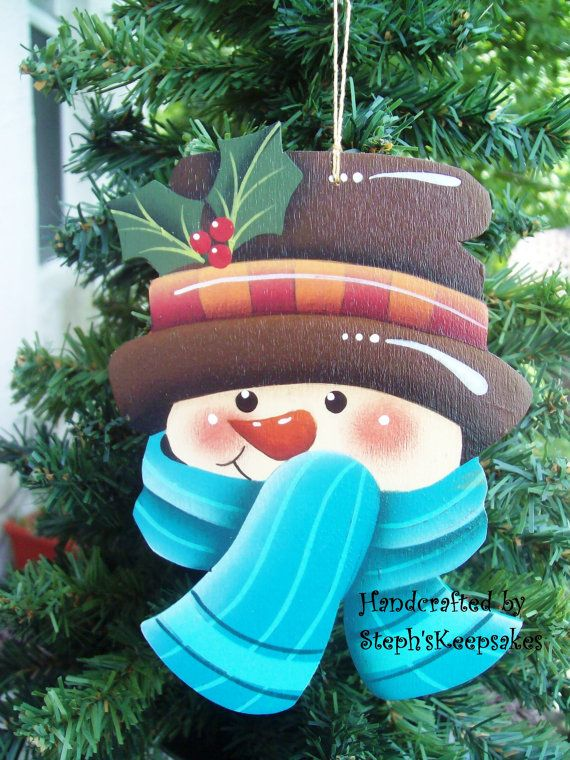 Items similar to Hand Painted Snowman Upcycled Glass Ball Ornament on Etsy