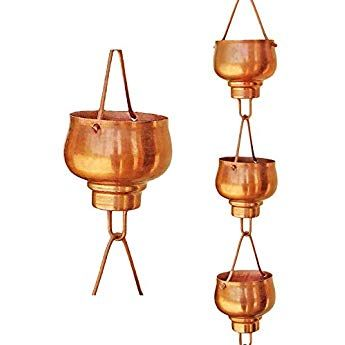 Trademark Innovations Copper Colored Rain Chain for Gutter Downspout