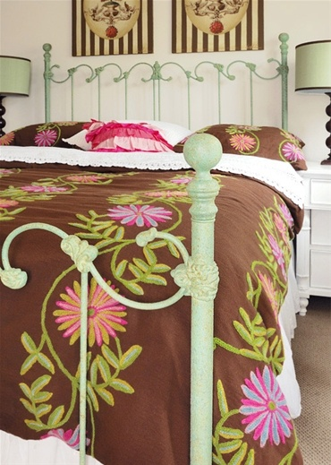 Painted French Swirl Iron Bed