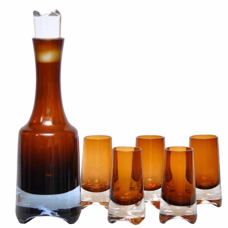 Gorgeous Danish modern vintage amber brown decanter set designed by Denby of Sweden.