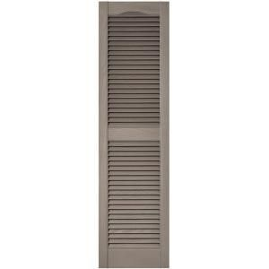 Builders Edge 15 In X 55 In Louvered Vinyl Exterior Shutters Pair In 001 White Louvered