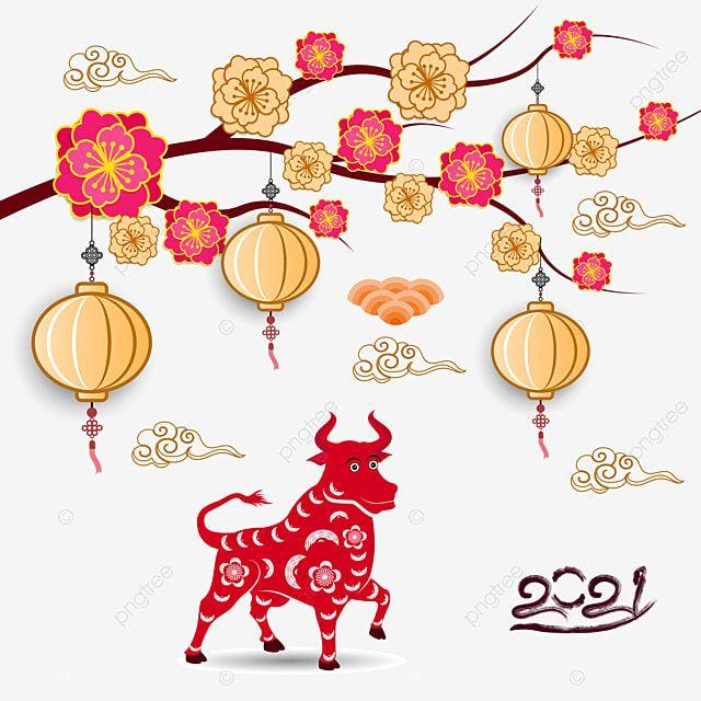 Feliz Ano Nuevo Chino 2021 Ano De La Flor De Buey Y Elementos Asiaticos Con Estilo Artesanal En El Fondo Ox Bufalo Asia Png Y Vector Para Descargar Gratis In